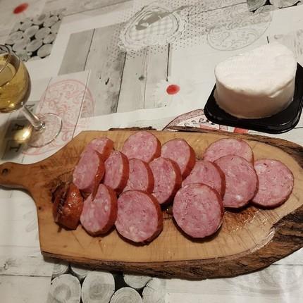 Verrines de fondue de poireaux, saucisse de Morteau et Brillat-Savarin