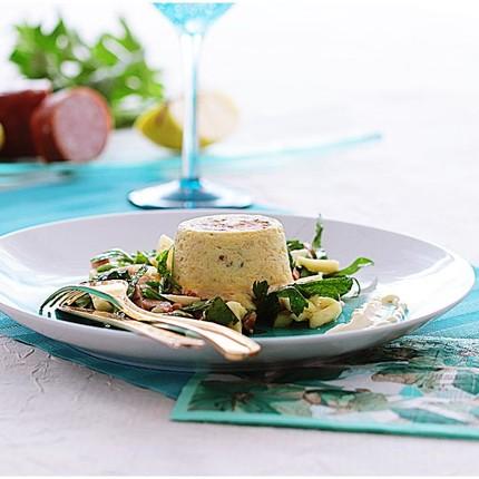 Flan de saucisse de Morteau aux pommes, céleri et Brillat Savarin......et sa petite salade de céleri aux pommes...
